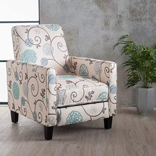 dufour white and blue fabric recliner