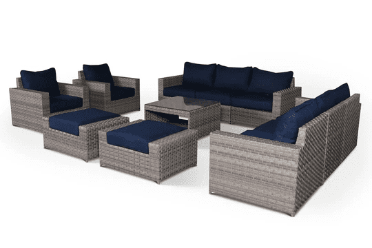 gray and blue outdoor wicker sofa set