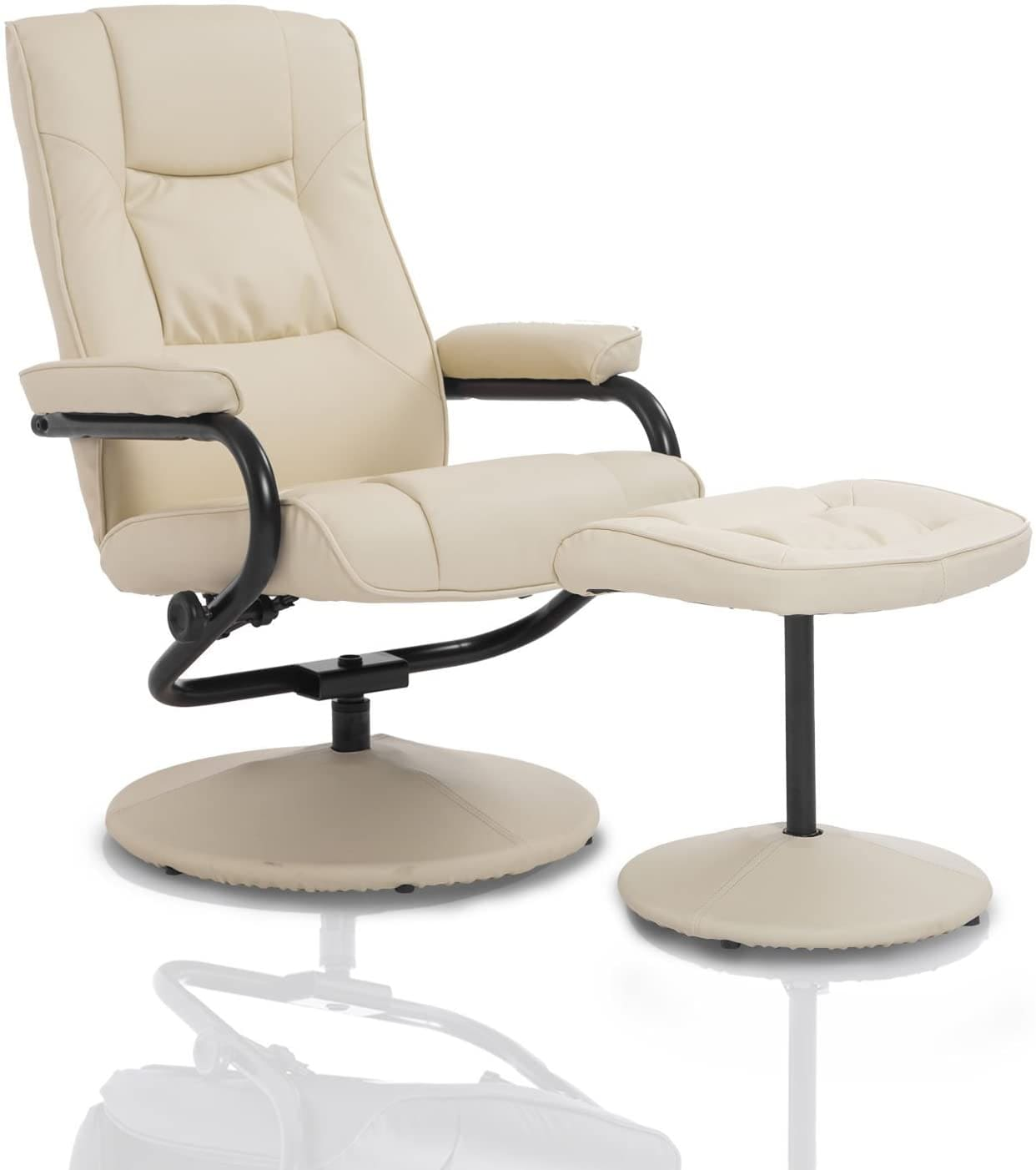 leather recliner swivel chair with matching footstool