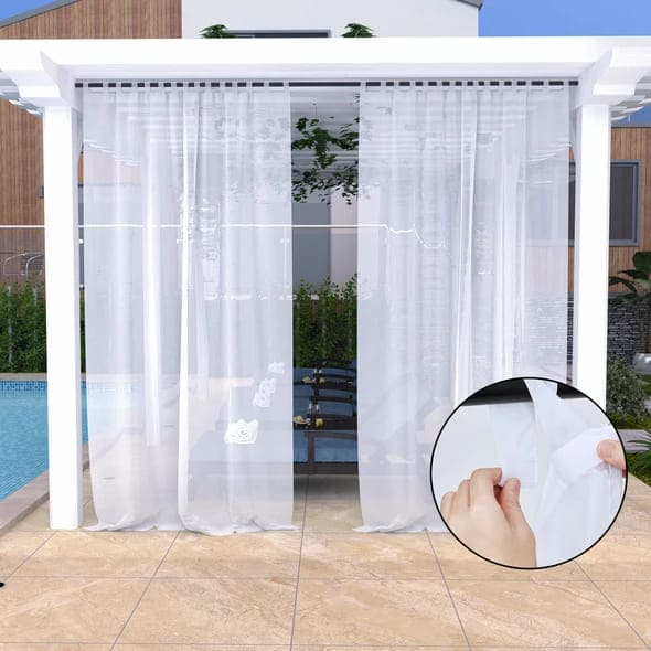 outdoor semi sheer curtains for screened porch 95 inch long