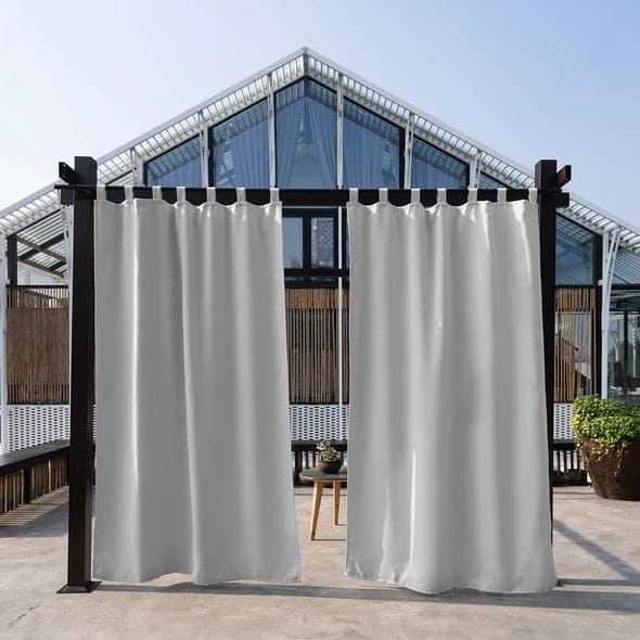 white tab top outdoor curtains