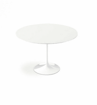 white lacquer round tulip dining table