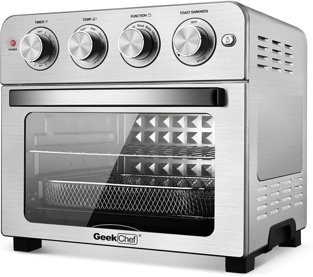 Geek Chef Air Fryer Toaster Oven, 6 Slice 24QT Convection Airfryer Countertop Oven, Roast, Bake, Broil, Reheat, Fry Oil-Free