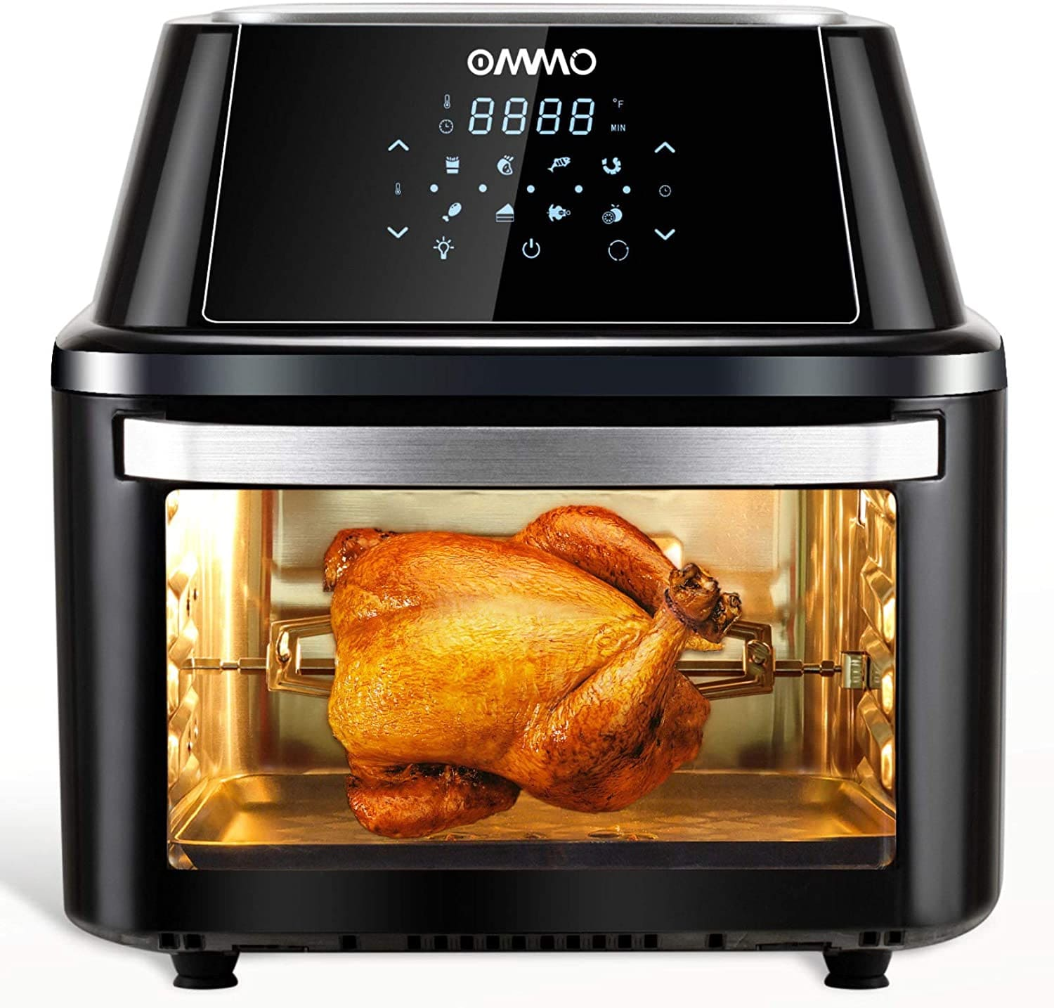 OMMO Air Fryer Oven, 17 Quarts 1800W Large Air Fryer Toaster Oven, 8 Presets